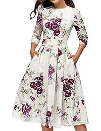 VJGOAL Mujer Cuello Redondo Manga Tres Cuartos Elegante Vestido en A-línea con Bolsillos Vestido de Fiesta de Noche con Estampado de Flores Vintage