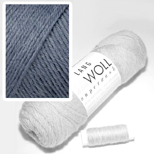 Lang Jawoll Superwash Farbkarte Sockenwolle (83.0007 blau-grau) -