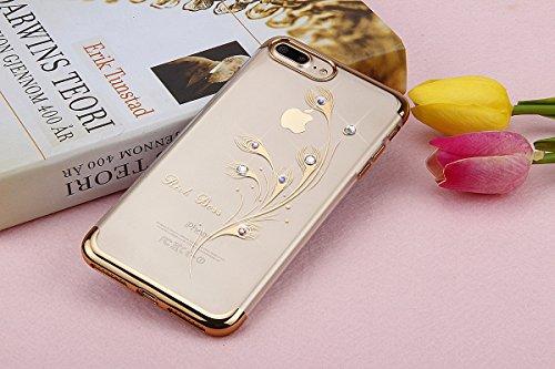 Paillette Coque pour iPhone 7 Plus/8 Plus,iPhone 8 Plus Coque Silicone Étui Ultra Mince Housse, iPhone 7 Plus Souple Coque Etui en Silicone, iPhone 7 Plus Silicone Case Soft TPU Cover, Ukayfe Etui de  plumes de paon