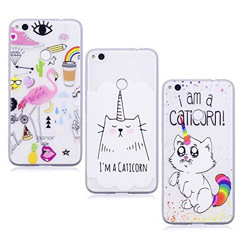 3X Coque Huawei P8 Lite 2017, E-Unicorn Housse Étui Coque Huawei P8 Lite 2017 Transparent Silicone Flamant Chat Licorne Motif Antichoc TPU Souple Gel Bumper Case Cover Ultra Fine Slim Incassable Ultra Resistante