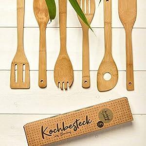 6er Kochlöffel-Set aus 100% Bambus   Küchenlöffel z.B. Rührkelle, Suppenkelle, Nudelschöpfer, Pfannenwender, Lochkelle   Kochgeschirr Küchenhelferset Küchenutensilien Salatbesteck Löffel Set