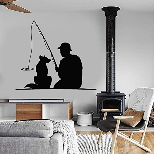 kyprx Home Decor Vinile Adesivo Animale Cane Pet Canna da Pesca Adesivo Vinile Adesivo Fisherman Decal Interior Wallpaper Rosso 46x42cm