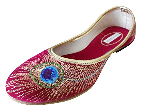 KALRA Creations Traditionelle indische Leder Damen Ballerinas Rose