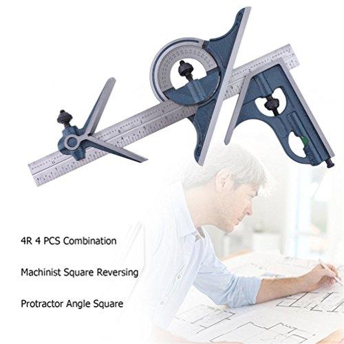Preisvergleich Produktbild 4R 4 PCS Machinist Quadrat Kombination Umkehr Winkelmesser Winkel Quadrat Set (Farbe: blau & Silber)