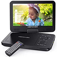 "DBPOWER 12.5"" Portable DVD Player with 10.5"" Swivel Screen, Built-in 5 Hours Rechargeable Battery, Supports All Region, Earphone/SD Card/USB/AV-in/AV-out (Black)"