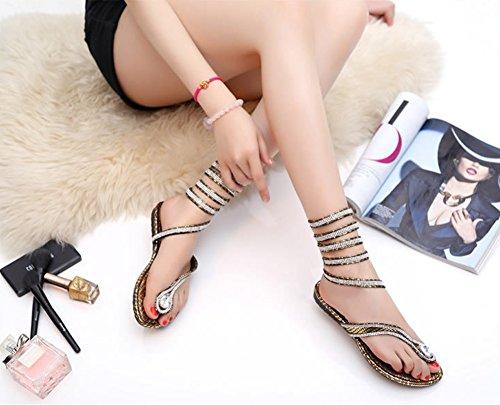 baitu - sandali sexy con lacci alla romana, con strass da ragazza' donna Oro