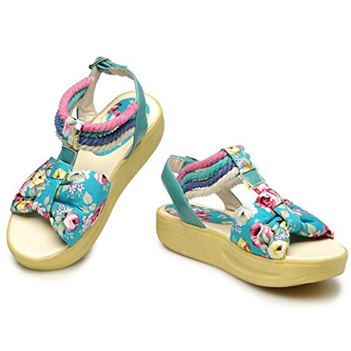 COOLCEPT Femmes Mode T-strap Orteil ouvert Forme Plate Sandales Stylish Chaussures with Floral Bleu