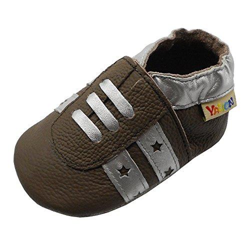 Yalion Premium Leder Lauflernschuhe für Jungen und Mädchen Krabbelschuhe Babyschuhe Tennis Turnschuhe Dunkles Khaki 6-12 Monate