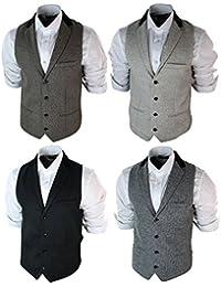 Mens Vintage Tweed Wasitcoat Herringbone Brown Cream Black Grey Slim Fit