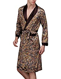 9b2a28e6710725 Herren Lange Klassische Schlafanzüge Charmeuse Morgenmantel Homewear Kimono  Satin Bademäntel Robe