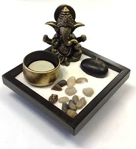 Mini Zen Rock Garden with Buddha Statue, Incense and Tealight Candle Holder (Tao Garden)