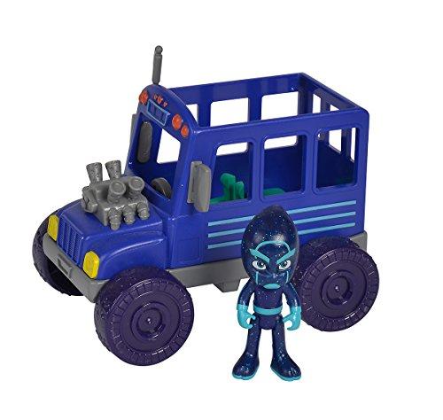 Simba - PJ Masks Ninja mit Bus / mit Bösewicht Nacht Ninja / mit Action Figur / blau/ Fahrzeug 15cm groß / Figur 8cm groß, für Kinder ab 3 Jahren