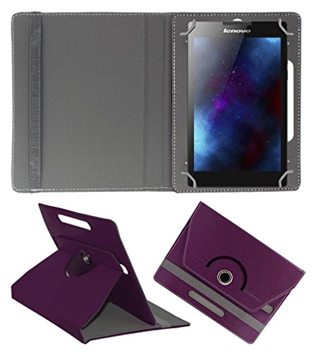 ACM Rotating Leather Flip Case for Lenovo Tab 2 A7-30 Cover Stand Purple
