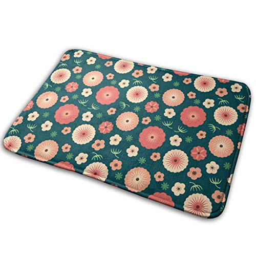 Abyss Towels Watercolor Floral Boho Spring Floral Bath Mat Non Slip Absorbent Super Cozy Velvet Bathroom Rug Carpet Bath Rugs Abyss Dish