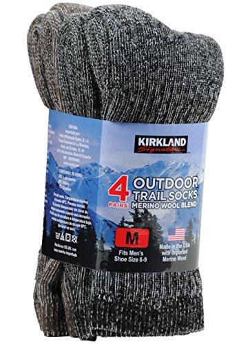4 Pairs Outdoor Trail Socks Merino Wool Blend Size Medium (Fits Men's Shoe Size 6-9)