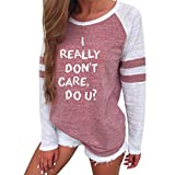 I Really Don t Care Do u Mode Frauen Letter Print Langarm-Splice Bluse Tops Kleidung T-Shirt Damenmode Blusenshirt Sommerbluse