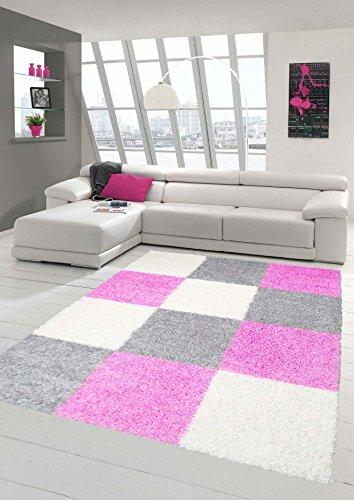 shaggy-tapis-shaggy-pile-longue-tapis-tapis-de-salon-patterned-dans-karo-design-cream-gris-rose-gros