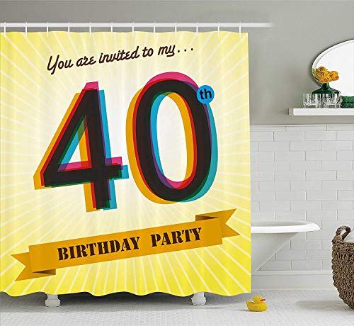 XIAOYI 40th Birthday Decorations Shower Curtain, Vintage Graphic Banner Party Invitation Theme Optical Striped, Fabric Bathroom Decor Set with Hooks, 60W X 72L Inche, Multicolor (Party Birthday Vintage-40th)