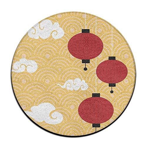 Rot Chinesische Laterne rund Home Fußmatte Eingang Eintrag Weg, vorne Fußmatte Ground 59,9cm Teppiche für Decor Dekorative Herren Frauen Büro (Laterne Eintrag)