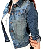 Minetom Femme Automne Hiver Veste En Jean Blousons Bouton Manteau Court Veste Slim Fit Manches Longues Bleu FR 36