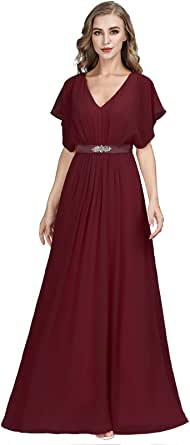 Ever-Pretty Vestito da Cerimonia Donna Chiffon Linea ad A Scollo a V Maniche Corte Stile Impero Lungo EZ07717