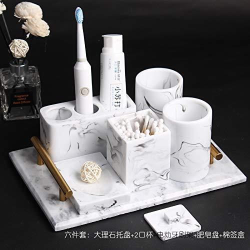 1290 Tinte (Amgend Elektrische Zahnbürstenhalter Badzahnhalter Paar Mundspülbecher Bürstenbecher Bad Waschset 5-Teiliges Set, Tinte Weiß 6-Teiliges Set (Marmorweißer Gürtel))