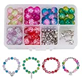 SUNNYCLUE 1 Box (über 245pcs) 10 mm Handarbeit Crackle Lampwork Glas Rund Beads Sortiment Lot mit...