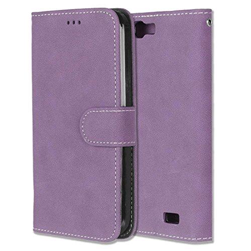 Huawei Ascend G7 Hülle, Chreey Matt Leder Tasche Retro Handyhülle Magnet Flip Case mit Kartenfach Geldbörse Schutzhülle Etui [Lila]