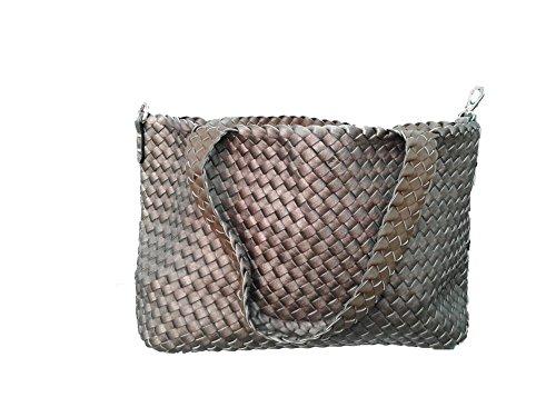 Wendetasche in Flecht-Optik, Shopper Tasche, Handtaschen Set, 2 Taschen, Bag in Bag, Schultertasche (Toupe Bronza 11, Toupe Bronza 11) (Tasche Geflochtene)