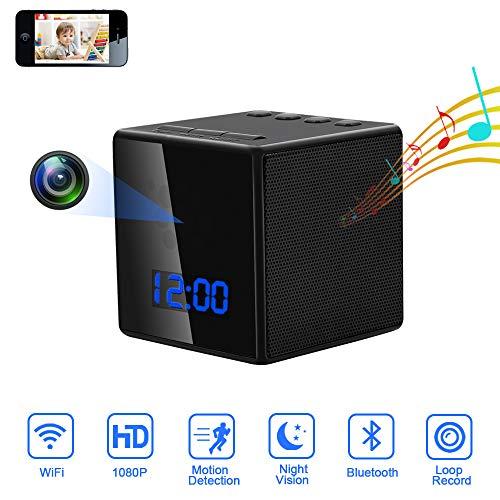 Musica Telecamera Nascosta WIFI LXMIMI LED Digitale Orologio-Sveglia 3 in 1 Telecamera Spia 1080P con Altoparlante Bluetooth,Visione Notturna,Rilevamento di Movimento per Interno/animale/bebè