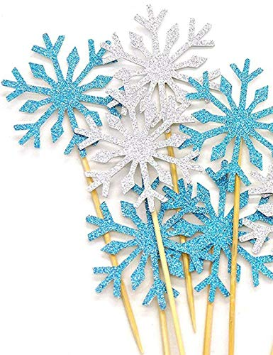Alohha - 40 púas decorativas para tartas de copos de nieve, decoración de mesa de postre, para decoración de alimentos, para Navidad, cumpleaños, fiesta, baby shower, boda, pastel