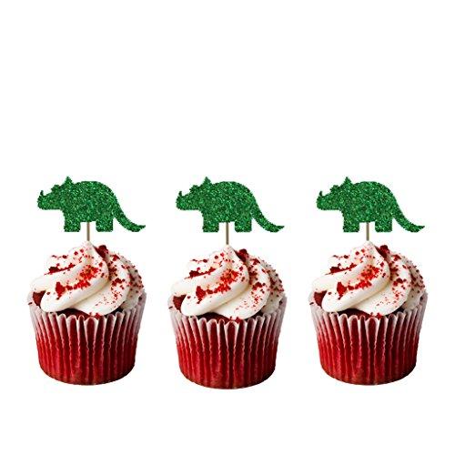 LissieLou Decoración para cupcakes, diseño de dinosaurio con purpurina, 10 unidades