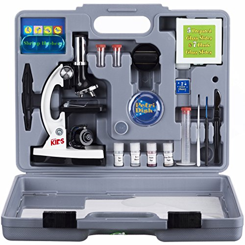 AmScope M30-ABS-KT2-W Beginner Microscope Kit, LED and Mirror Illumination, 300X, 600x, and 1200x...