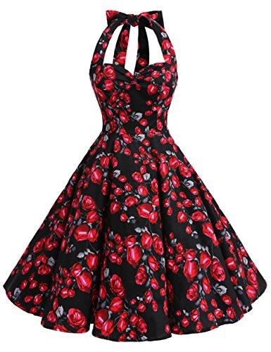 Bbonlinedress modèle 5 Vintage rétro 1950's Audrey Hepburn robe de soirée cocktail année 50 Rockabilly Black Rose