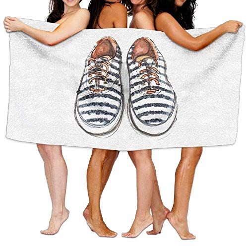 Monicago Frottiertücher Strandtücher, Quick Dry Towel Microfibre Towel, Women's Cottton Skateboard Fashion Nice White Shoes Bath Shower Wrap Towels -