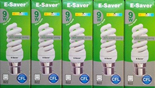 Kompaktleuchtstofflampen/Energiesparlampen 3/5/6/10Stück, 9W = 50Watt, warmes Weiß, Spirale, Bayonettfassung (BC, B22), 440Lumen, T2, 80 %–85 % Energieersparnis, flackerfrei, 10.000Stunden Lebensdauer, cool white, B22d 9.00 wattsW 240.00 voltsV