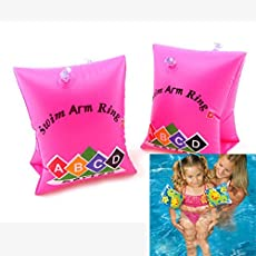 Swimming Floaters Medium ARM Ring Band Floats for Pool Beach for Kids- Pink