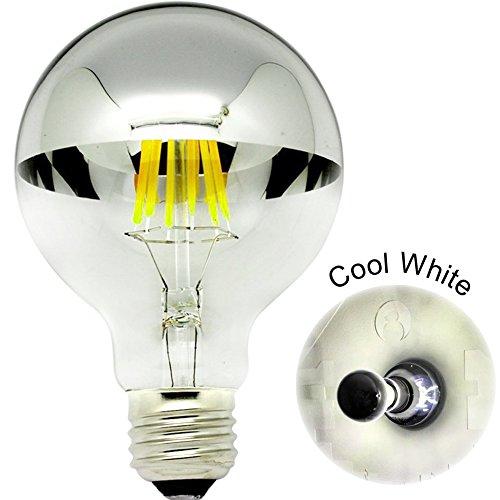 Lampadine a LED con corona argento specchio 6 W G80 Globe forma lampadina E27 con attacco a baionetta bianco puro 6000 K, non dimmerabile