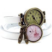 montre cuir bracelet 3 rangs cabochon bronze illustré vintage, danse, chaussons, pointes, danseuse