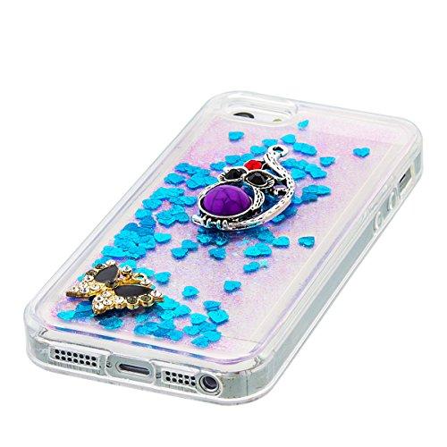 iPhone 5C Hülle, 5C Hülle, Gift_Source [ Silber & Crown Angel ] Glitzer Hülle , Liquid Case, Glitter Hülle Cool 3D Fließen Flüssig Bling Schwimmend Treibsand Stern Luxus Shiny Case Glanz Shiny Effekt  E1-Blue & Butterfly und Eule