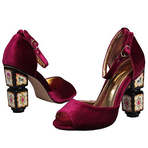 ENMAYER Femmes New Gold Velvet en peau de mouton Cristal Peep Toe Patentes talons bas Sandales Casual Dress vin rouge