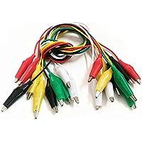 Woopower Juego DE 10 Cables de Prueba con Pinzas de cocodrilo, aislantes, con Clips, Cable de Prueba de Doble extremidad, Cable de cocodrilo, 50 cm
