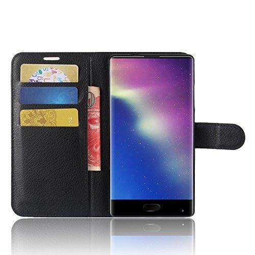SMTR Doogee Mix Wallet Tasche Hülle - Ledertasche im Bookstyle in Schwarz - [Ultra Slim][Card Slot][Handyhülle] Flip Wallet Case Etui für Doogee Mix