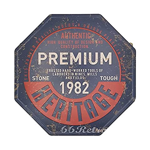 66retro Premium 1982Heritage, geprägt Octagon Metall blechschild, Vintage Wand Deko Schild