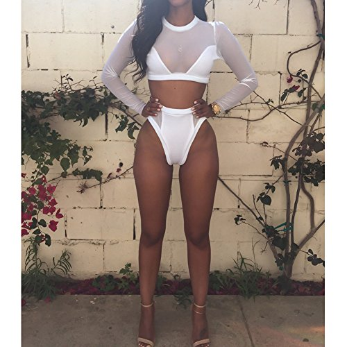 Demiawaking Donne Sexy Bikini della Garza di Manica Lunga a Vita Alta Costume da Bagno Usura di Nuotata Bianco