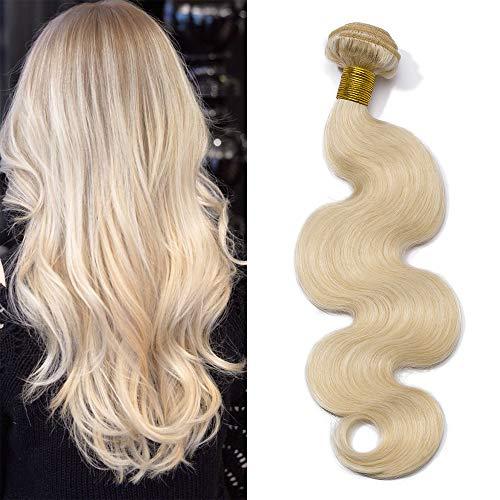 Extension bionde capelli veri tessitura matassa mossi grado 7a - 100% remy virgin human hair naturali umani brasiliani body wave doppia weft, 60# biondo platino 55cm 100g