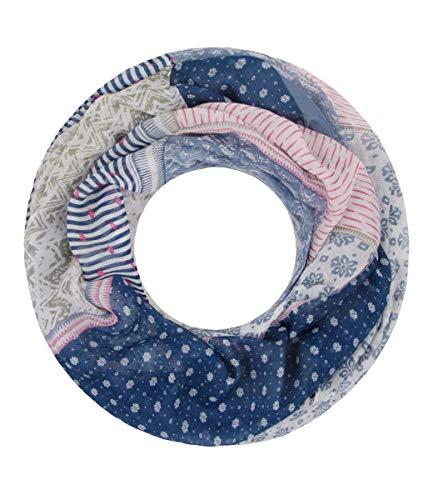 Majea NEUE Saison Damen Loop Schal viele Farben Muster Schlauchschal Halstuch in aktuellen Trendfarben (blau 13)