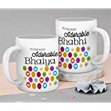 Gift For Bhaiya Bhabhi Set Of 2 Printed Coffee Mug(325 Ml, White)