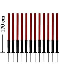 Artículos para perros - Set de 12x picas de slalom con puntas de acero, 170 cm, rojo - con bolsa