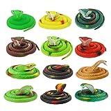NUOBESTY serpente di gomma assortiti giocattoli di serpenti finti colorati riutilizzabili serpente di erba simulazione serpente puntelli complicati serpente di gomma per pesci daprile - 12 pezzi